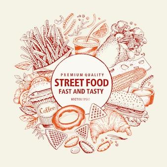 Szablon projektu fast food wektor. uliczny sztandar żywności.