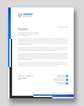 Szablon projektu firmowego nowoczesnego papieru firmowego w kolorze niebieskim