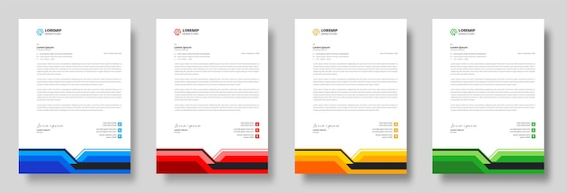 Szablon projektu firmowego nowoczesnego papieru firmowego w żółtych, niebieskich, zielonych i czerwonych kolorach