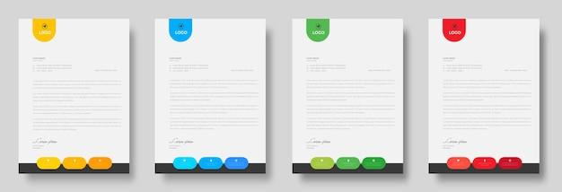 Szablon projektu firmowego nowoczesnego papieru firmowego z czerwonymi, niebieskimi, zielonymi i żółtymi kształtami