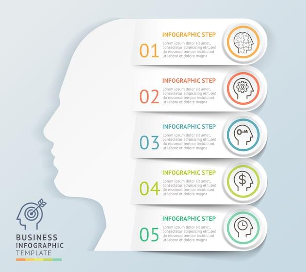 Szablon projektu głowy nowoczesny infografiki