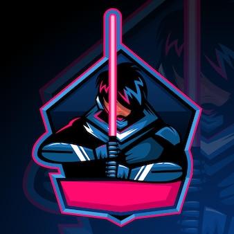 Szablon projektu gry maskotka logo nowoczesnych profesjonalnych rycerzy.