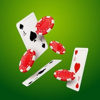 Szablon projektu gry w pokera w kasynie. spadające pokerowe karty i żetony tło kasyno na białym tle