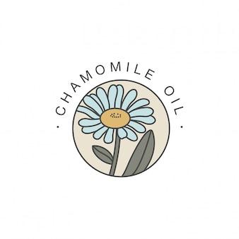 Szablon projektu i emblemat - olejek zdrowy i kosmetyczny. naturalny, organiczny olejek rumiankowy. kolorowe logo w modnym stylu liniowym.
