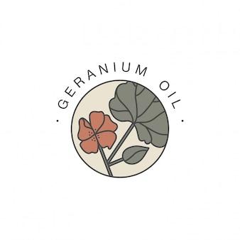 Szablon projektu i emblemat - olejek zdrowy i kosmetyczny. naturalny, organiczny olejek z geranium. kolorowe logo w modnym stylu liniowym.