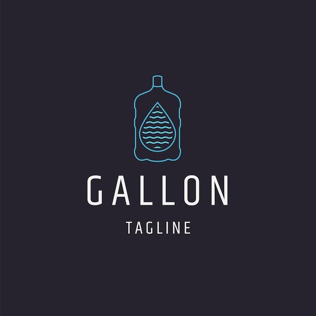 Szablon projektu ikona logo galon wody płaski wektor