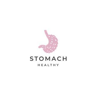 Szablon projektu ikona logo żołądka płaska ilustracja wektorowa
