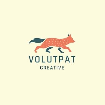 Szablon projektu ikona logo zwierząt lisa płaski wektor