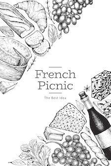 Szablon projektu ilustracja francuskie jedzenie. ręcznie rysowane ilustracje wektorowe posiłek piknikowy. grawerowany styl różnych przekąsek i banerów na wino. tło vintage żywności.