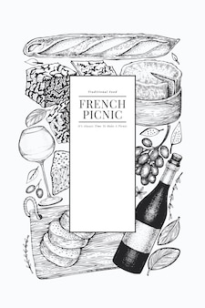 Szablon projektu ilustracja francuskie jedzenie.