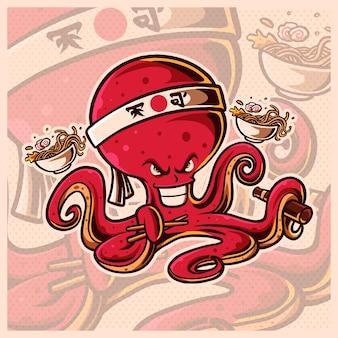 Szablon projektu ilustracji logo japońskiej ośmiornicy szefa kuchni maskotka esport, logo cute squid. płaski styl kreskówki