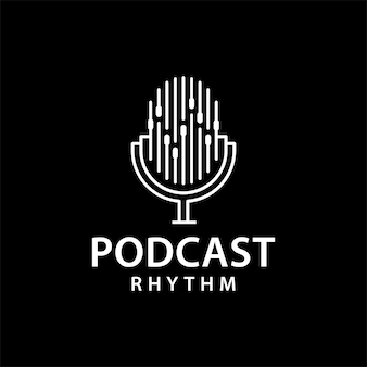 Szablon projektu ilustracji logo rytmu podcastu
