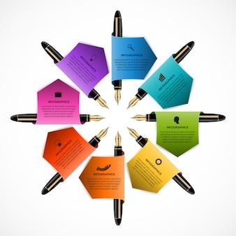 Szablon projektu infografika biznesowa pióra kolorowe atramentu