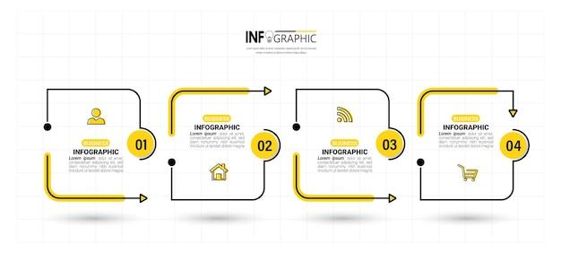 Szablon projektu infografiki 4 kroki na osi czasu