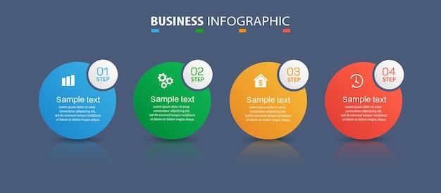 Szablon projektu infografiki biznesowej z 4 krokami