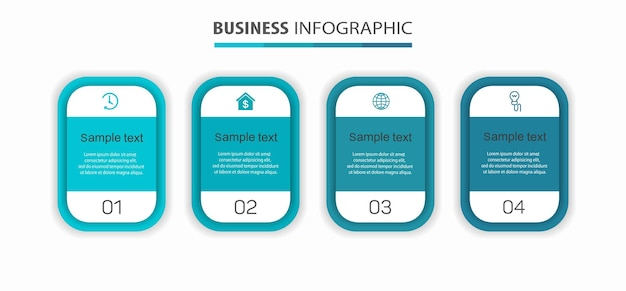 Szablon projektu infografiki biznesowej z 4 opcjami lub krokami