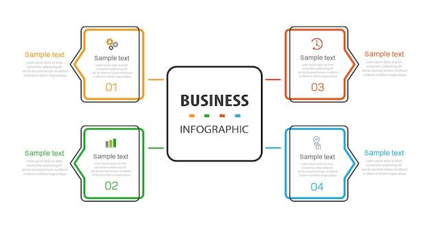 Szablon projektu infografiki biznesowej z 4 opcjami