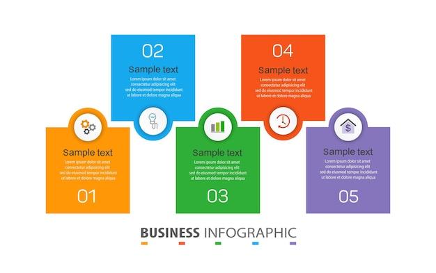 Szablon projektu infografiki biznesowej z 5 opcjami lub krokami