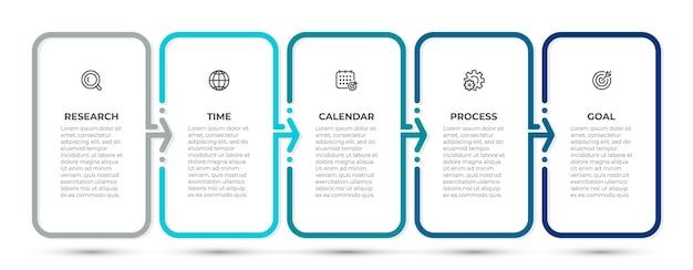 Szablon projektu infografiki biznesowej z ikonami i 5 opcjami lub krokami