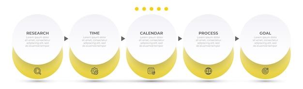 Szablon projektu infografiki biznesowej z okręgami i 5 opcjami lub krokami