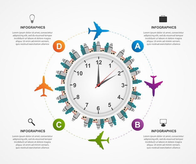 Szablon projektu infografiki globalnego samolotu.