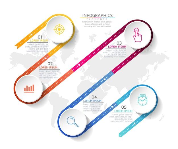 Szablon projektu infografiki, informacje biznesowe, wykres prezentacji, z 5 opcjami lub krokami.