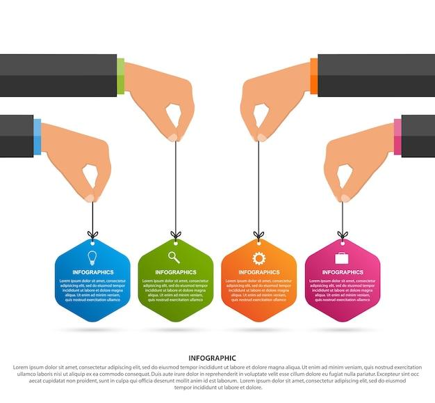 Szablon projektu infografiki. ludzkie ręce trzymając transparenty sześciokątne. ilustracja wektorowa.