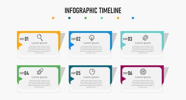 Szablon projektu infografiki osi czasu kroków