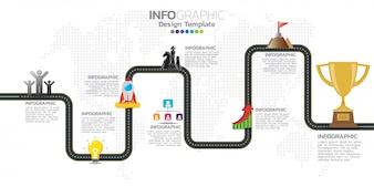 Szablon projektu infografiki osi czasu z 7 opcjami