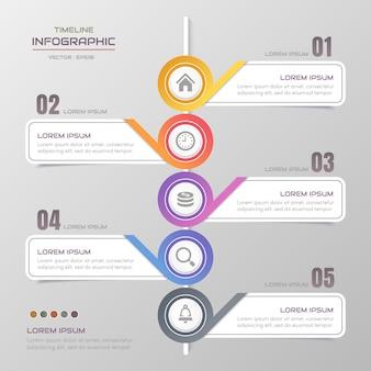 Szablon projektu infografiki osi czasu z ikonami