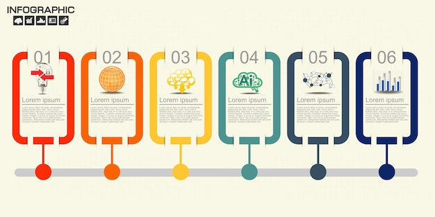 Szablon projektu infografiki osi czasu z sześcioma opcjami.