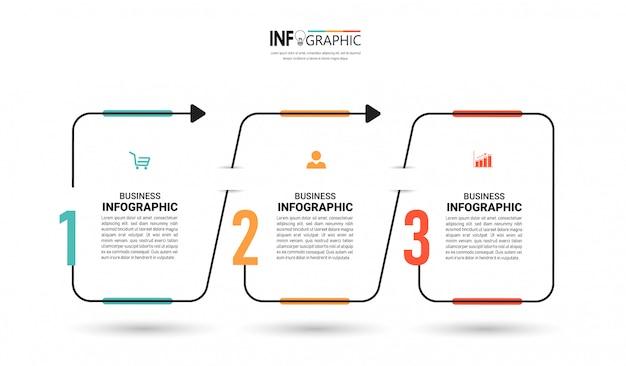 Szablon projektu infografiki trzy kroki na osi czasu.