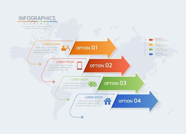 Szablon projektu infografiki wykres prezentacji informacji biznesowych z 4 opcjami lub krokami