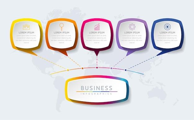 Szablon projektu infografiki wykres prezentacji informacji biznesowych z 5 opcjami lub krokami