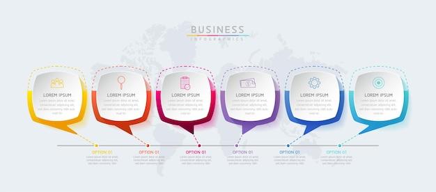 Szablon projektu infografiki wykres prezentacji informacji biznesowych z 6 opcjami lub krokami