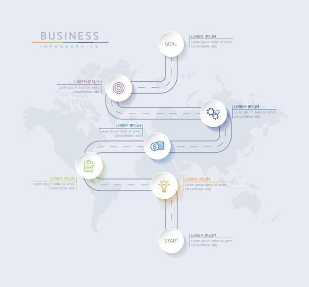 Szablon projektu infografiki wykres prezentacji informacji biznesowych z 7 opcjami lub krokami