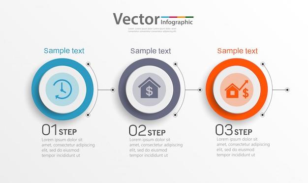 Szablon projektu infografiki z 3 opcjami, krokami lub procesami