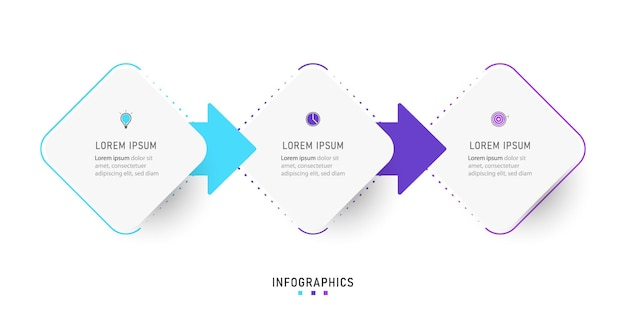 Szablon projektu infografiki z 3 opcjami lub krokami.
