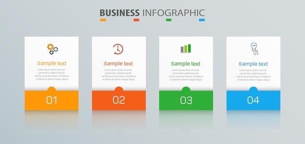 Szablon projektu infografiki z 4 opcjami dla biznesu