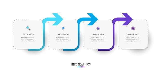 Szablon projektu infografiki z 4 opcjami lub krokami.