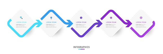 Szablon projektu infografiki z 5 opcjami lub krokami.