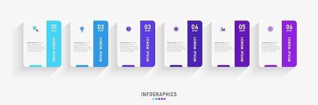 Szablon projektu infografiki z 6 opcjami lub krokami.