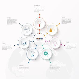 Szablon projektu infografiki z ikonami cienkich linii i 7 opcjami, procesem lub krokami.