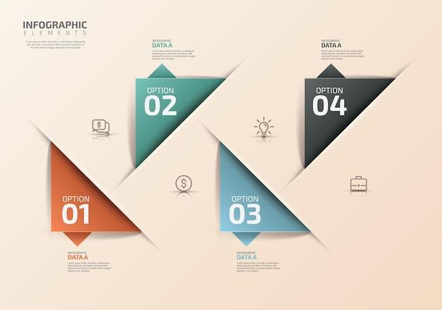 Szablon projektu infografiki z ikonami i 4 opcjami lub krokami może być użyty do diagramów procesów itp.