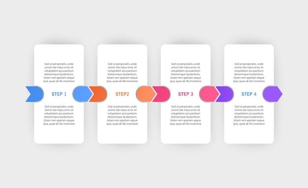 Szablon projektu infografiki z ikonami i 4 opcjami lub krokami może być użyty do diagramu procesu