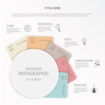 Szablon projektu infografiki z okrągłym i papierowy projekt uwaga. 6-stopniowa ikona funkcji i opis.