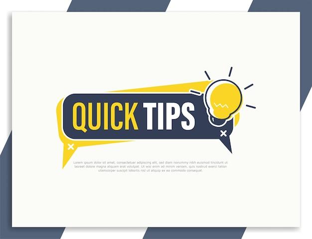 Szablon projektu innowacyjnych etykiet szybkich porad, pomocne wskazówki, baner szybkich sztuczek