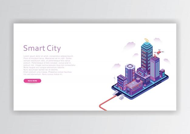 Szablon projektu izometrycznego inteligentnego miasta