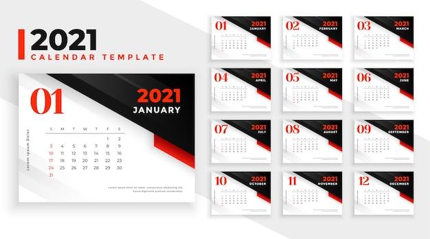 Szablon projektu kalendarza 2021 z czerwonymi czarnymi kształtami geometrycznymi