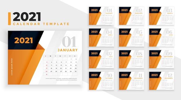 Szablon projektu kalendarza 2021 z pomarańczowymi kształtami geometrycznymi